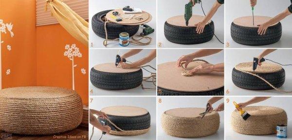 Que faire d'un pneu? Un siège. (tuto image récup DIY)