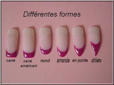 Différentes forme possible disponible pour l ongle en gel