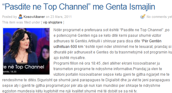 """Pasdite ne Top Channel"" me Genta Ismajlin sot nga ora 18.45"