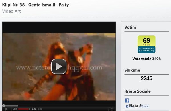 Votoni per Genta Ismajlin tek Netët e klipit shqiptarë