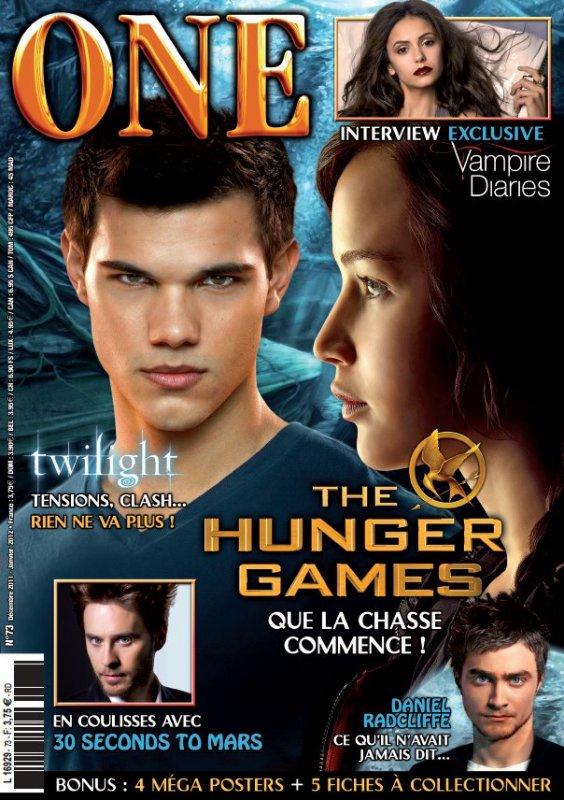 Le magazine One D�cembre 2011/Janvier 2012 sortira le 1er d�cembre dans toutes les librairies avec en premi�re page Twilight, The hunger game, … avec au haut � droite une photo qui annonce une interview de Nina et/ou du cast