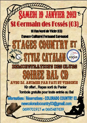 Evènement: Stage et bal country animés par Fatima et Virginie