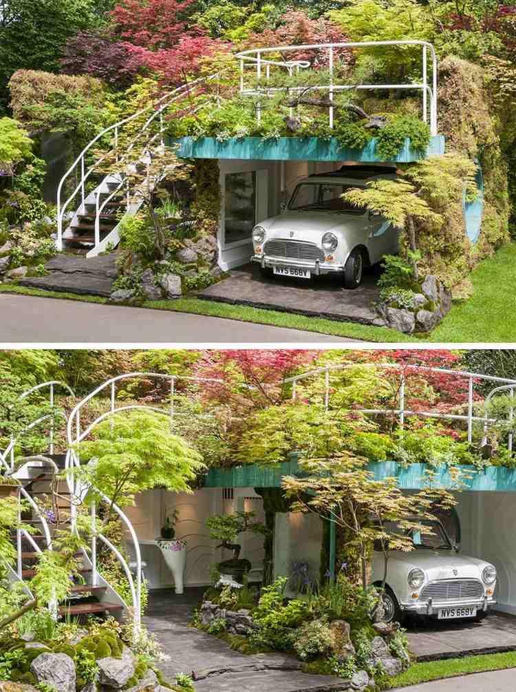Ce beau jardin design accueille un abri de voiture !