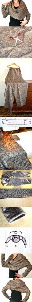 Couture facile, un bol�ro drapp�, pour femme, peut s'adapter aux poup�es.
