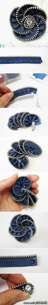 Broches faites avec des fermetures �clairs pour jeans.
