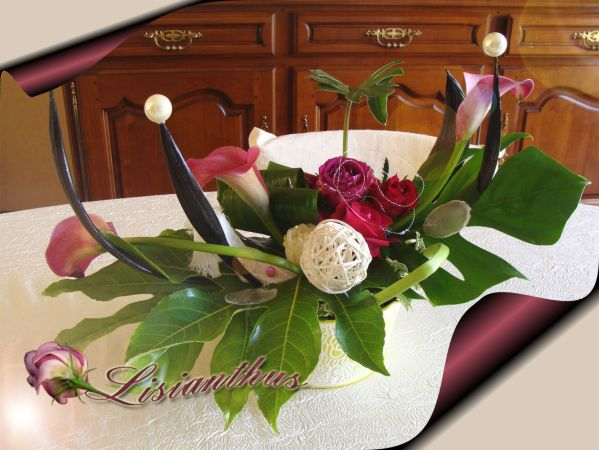cr ation roses arums art floral bouquet. Black Bedroom Furniture Sets. Home Design Ideas