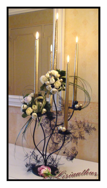Chandelier 6 branches art floral bouquet cr ations for Lisianthus art floral