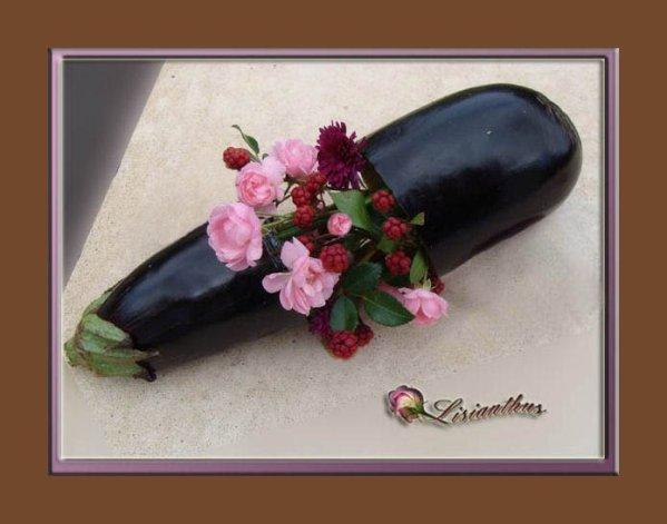 Garniture d 39 aubergine art floral bouquet cr ations florales de - Composition florale avec fruits legumes ...