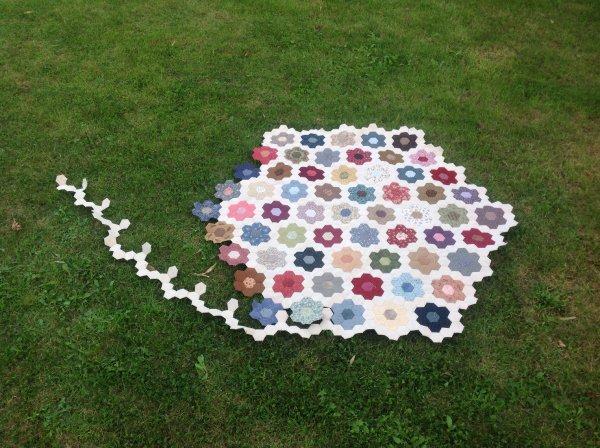 Il y a longtemps que je n'ai pas fait voir mon défi ....et j'ai dépassé les 52 fleurs lol . et je compte faire encore un tour d'hexago vert pâle.