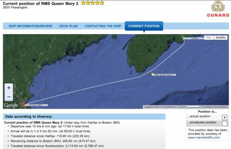CUNARD QM2 175th ANNIVERSARY CROSSING : AT SEA  11/07/2015