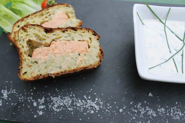cake aux courgettes et coeur saumon