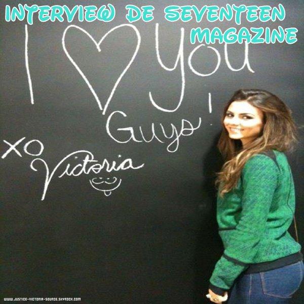 Interview de Seventeen pour Victoria