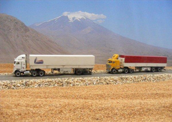 Iranian Mack Ultraliner MH613 trucks, near Mount Ararat!