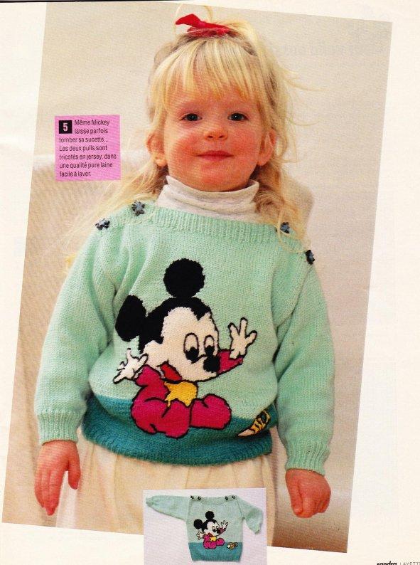 Pull avec mickey et minnie au tricot blog de le tricot de marcelle - Le blog de mimi ...