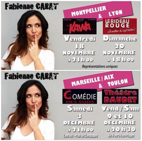 Fabienne en tournée avec son SEULE EN SCENE !!! DATES 2016