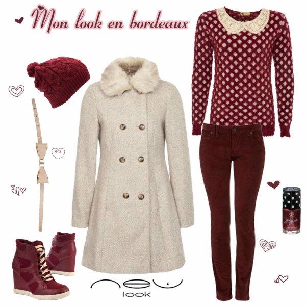 J'aime l'hiver en rouge bordeaux by New Look ♥