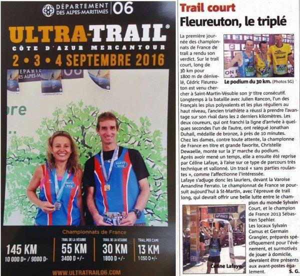 France de Trail 2016 - Fred Gayol en bronze (Master 1) et 1er r�gional sur Trail Court Isabelle Belia en argent (Master 2) sur Trail Court