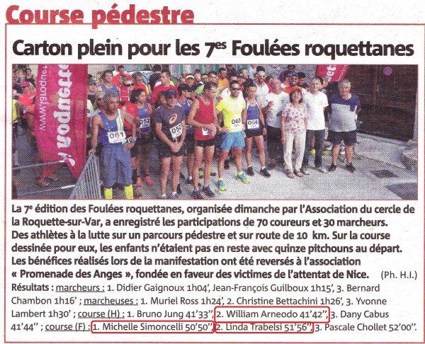 Foul�es Roquettanes: William 2�me scratch, Victoire f�minine de Mich�le, Linda 2�me F