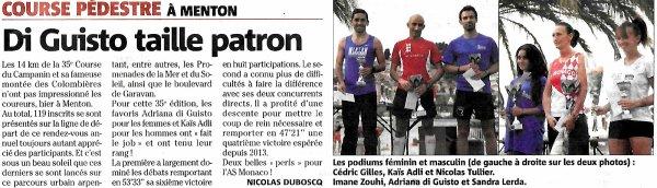Course du Campanin 2016 (Menton) - Top 10 pour S�bastien Villalba