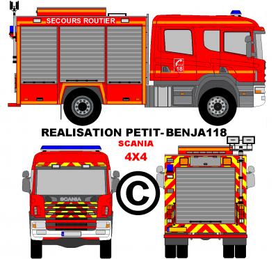 Camion scania 4x4 sapeurs pompiers v hicule secours - Dessiner un camion de pompier ...