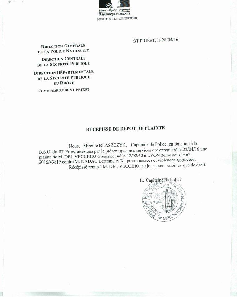 Recepisse d p t de plainte au commissariat de saint priest monsieur bertrand nadau doyen des - Porter plainte commissariat ...