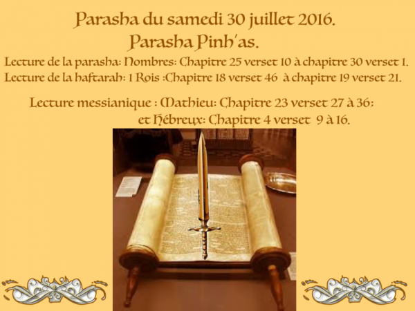 Parasha du samedi 30 juillet 2016.