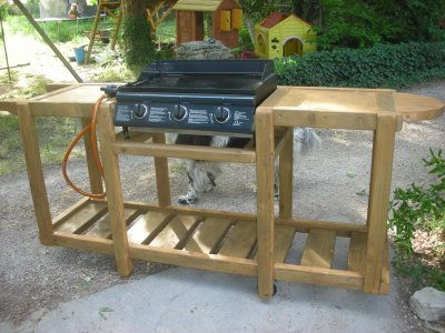 Meuble en bois pour une plancha construction roulotte - Meuble exterieur pour plancha ...
