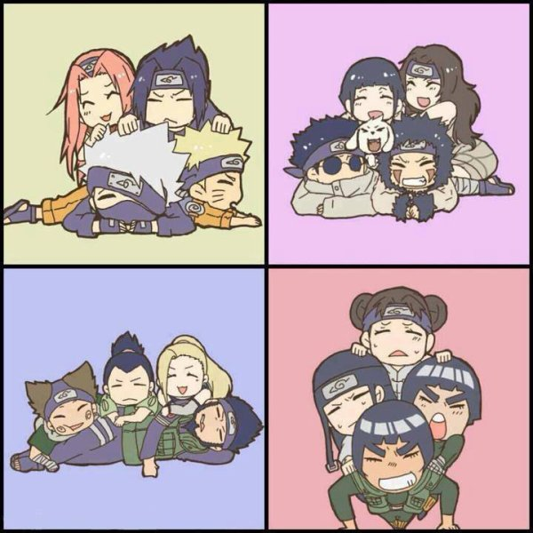 Naruto Sakura Sasuke Shikamaru Ino Choji Kiba: Sakura Sasuke Naruto Kakashi, Hinata Kurenai Shino Kiba