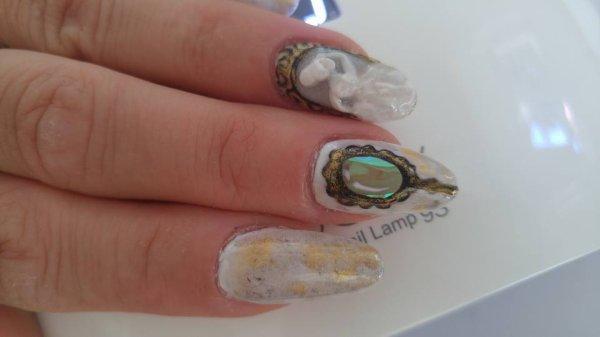 3D vintage miroir nails
