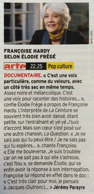 reportage sur francoise hardy le 23 septembre 2016 sur arte