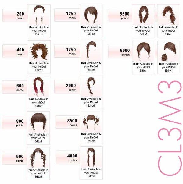 Inventaire des coiffures starpoints de 200 � 9500