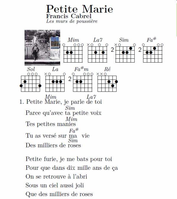 Petite marie francis cabrel 5 for Francis cabrel quelqu un de l interieur