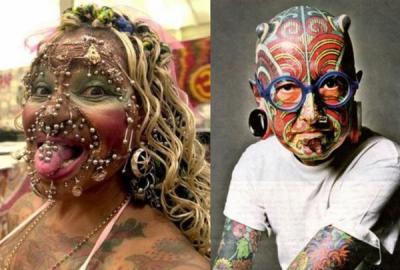 La femme la plus percee au monde et l 39 homme tatoue rock love and dream - Les plus beaux tatouages au monde ...