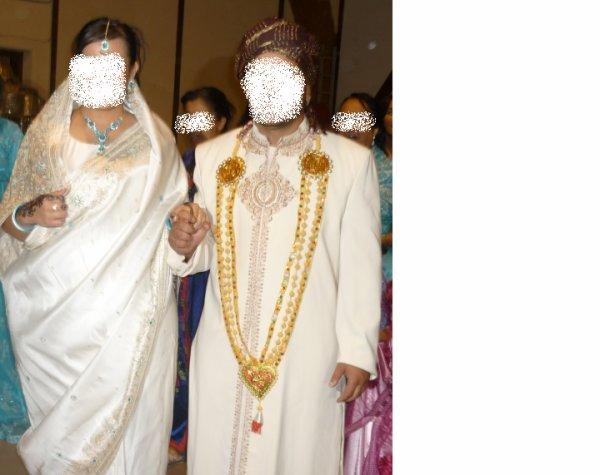 sari blanc et turquoise en location et costume hindou pour homme