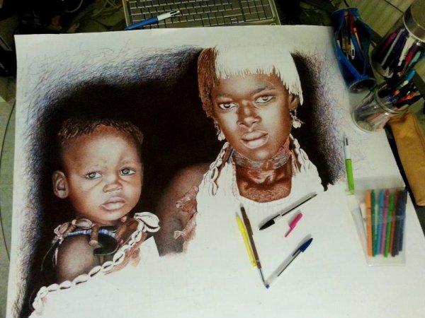 Travail en cours au stylos bille couleur