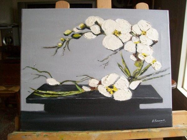 L Orhidee toile peinture a l huile et travaillee au couteau