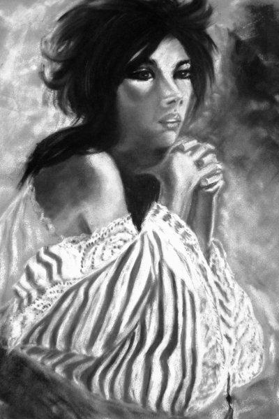 La romantique pastels secs noir et blanc blog de tableausylvie - Photo romantique noir et blanc ...