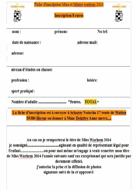 Fiche d 39 inscription pour les miss et mister warhem 2014 for D et co inscription