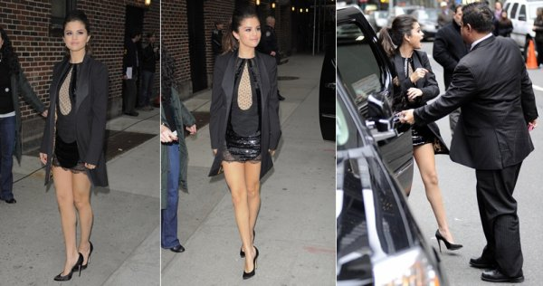 "18 mars : Selena arrivant aux studios du talk show ""Late show with David Letterman"""