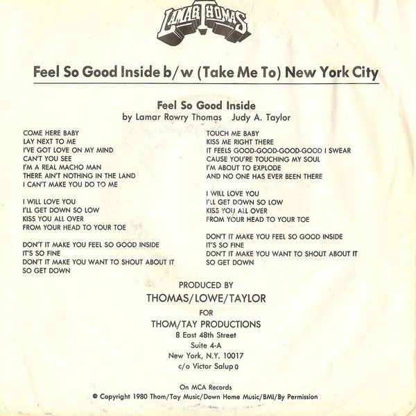 LAMAR THOMAS 1980 – Feel So Good Inside (Extended Waxist Edit Mix)