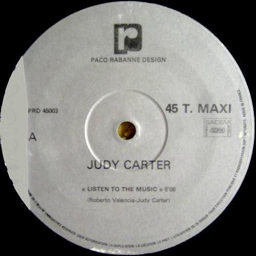 JUDY CARTER 1982- listen to the music label (Paco Rabanne Design).