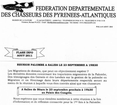 REUNION PALOMBE 23 SEPTEMBRE 19H30 SALIES DE BEARN
