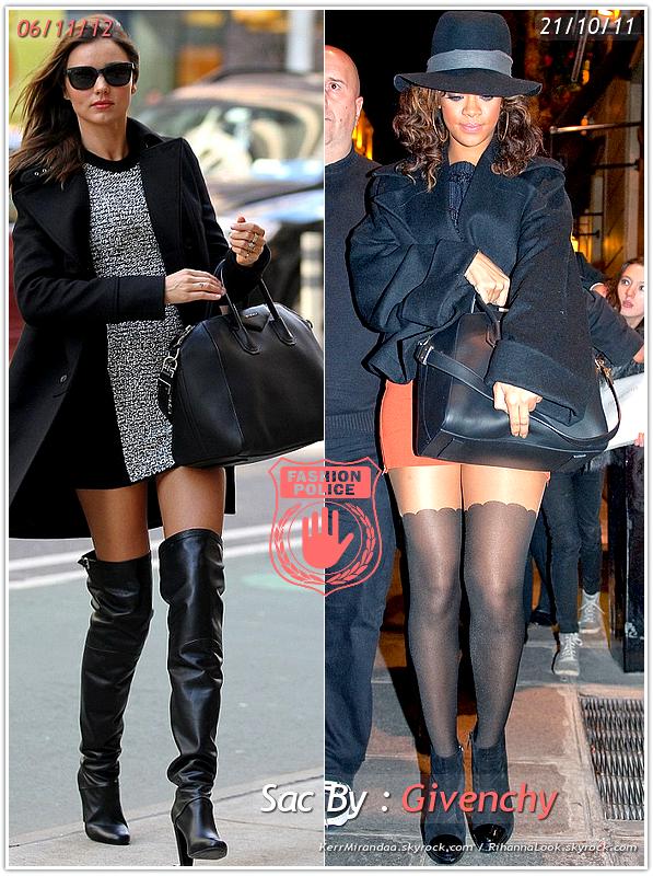 � Un air de d�j� vu... Miranda et Rihanna ont craqu� sur le  m�me sac  ! Un d�tail qui n'a pas �chapp� � la Fashion Police de RihannaLook ! Alors ... votre pr�f�rence ?
