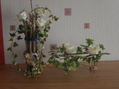 Ensemble de 2 compos art floral for Bouquet bois flotte