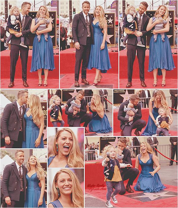 . 15/12/16 : Blake & sa petite famille étaient sur le « Walk of Fame » pour célébrer l'étoile de Ryan Reynolds (LA): Woah, Woah, Woah! Première sortie publique de la famille au grand complet ! Je les trouve tout simplement adorable et épanoui tous ensemble ** ♥ .