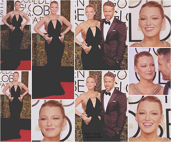 . 08/01/2017 : Mr & Mrs Reynolds assistaient à la cérémonie annuelle des « Golden Globes » à Los Angeles (CA): Sublimissime en robe Atelier Versace, Blake était venu soutenir son mari Ryan , nominé dans une catégorie meilleur acteur pendant la soirée. Top! ♥ .