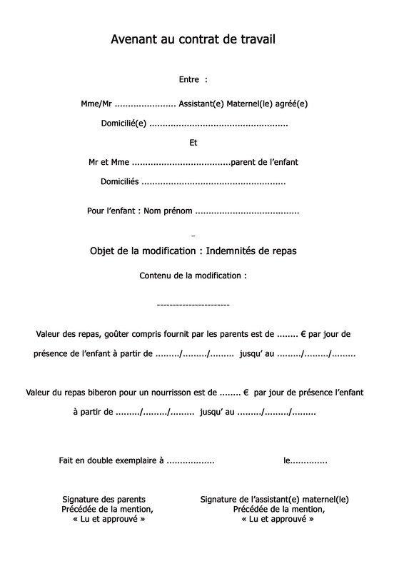 Avenant Contrat Assistance Maternelle Steadlane Club