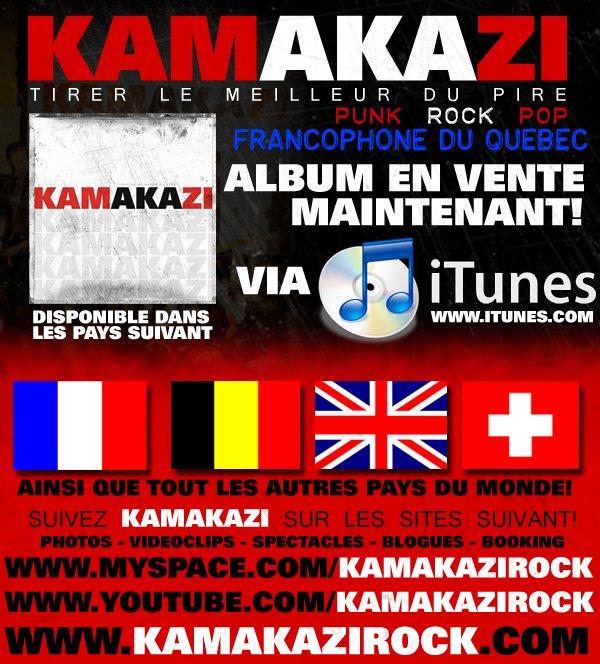 ALBUM DE KAMAKAZI EN VENTE PARTOUT (AMERIQUE DU NORD - EUROPE - ETC)!