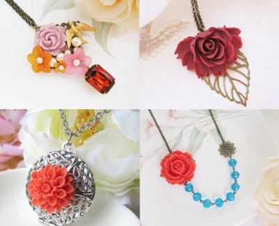 Flower cabochons jewelry designs
