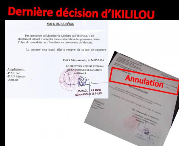 IKILILOU interdit l'accueil des refoul�s de Mayotte durant 2 heures